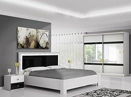 New Modern Bedroom Furniture Set Mezo White And Black Gloss Amazon Co Uk Kitchen Home