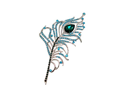- TTjewelry Gorgeous Peacock Feathers Rhinestone Crystal Brooch Pin (Blue)
