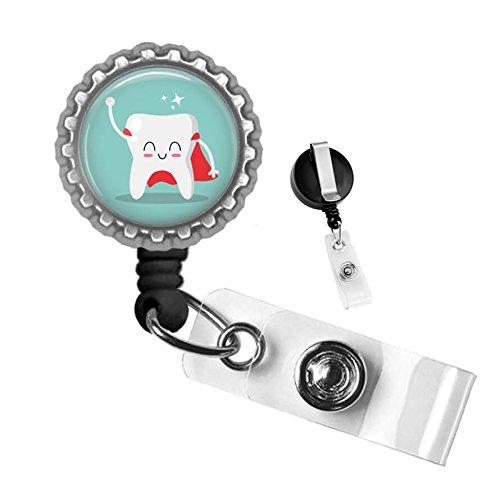 Cute Dentist Superhero Tooth Art Silver Retractable Badge Reel ID Tag Holder by Geek Badges -