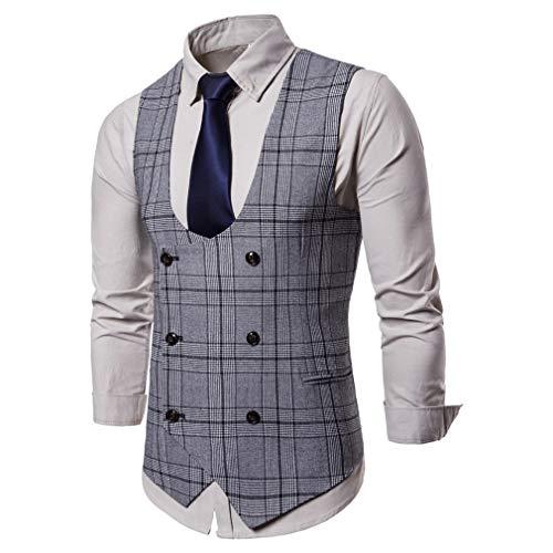 Mâle Marque Gilet Hibote Vintage Homme Sans Veste Clair Manches Costume Décontracté Gris Vêtements De dfXxP4qX
