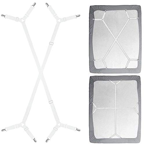 Sheet Fasteners Suspenders Holder Straps - Adjustable Crisscross Elastic Band Fitted Sheet Holder Fasteners Grippers,2pcs/Set White
