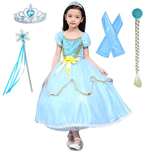 Deluxe Snow queen Princess Elsa Costume Dress Up for Big Girls Birthday Party with Accessories 9-10 -