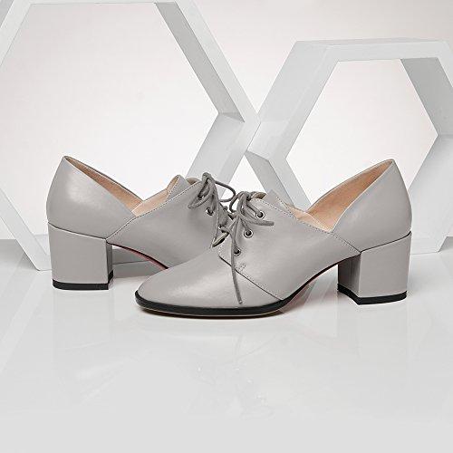 Tacón Atadura Dedo Fiesta Moda Sexy Gray 02 Tacones Cuadrado Baile KJJDE Plataforma Básico Zapatos Mujer Pump Stiletto Alta WSXY Tacón Puntiagudo xwnpqz4SF0
