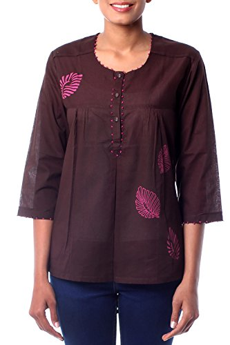 - NOVICA Brown Beaded Cotton Tunic, Coffee Rose'