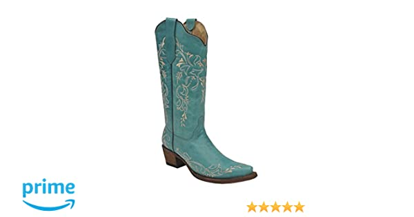CORRAL G1387 Turquoise Embroidered Laser Cut Snip Toe Boots