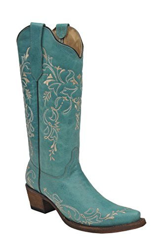 Corral Boot Women's 13-Inch Leather Embroidery Snip Toe Turquoise/Beige Western Boot ()