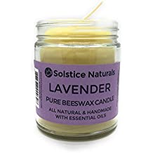 Lavender Scented All Natural 100% Pure Beeswax Aromatherapy Candle Made with Essential Oil, 9 oz - Great for Home Bathroom Living Room Office Study Yoga Spa