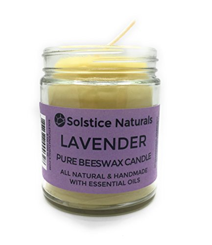 Lavender Scented All Natural 100% Pure Beeswax Aromatherapy Candle Made with Essential Oil, 9 oz - Great for Home Bathroom Living Room Office Study Yoga (Essential Oil Jar Candle)