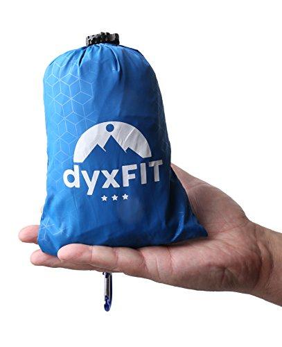DYXFIT Waterproof Indoor Outdoor Pocket Blanket Set, Compact Waterproof Beach Blanket Stakes, Carabiner, Carry Bag, Includes Rain Hood, Emergency Blanket, Perfect Picnics, Beach, Camping, by DYXFIT
