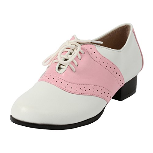 Women's Oxford Saddle Shoes Lace up Front with Low Heel Two Tone Pink White Size: 8]()