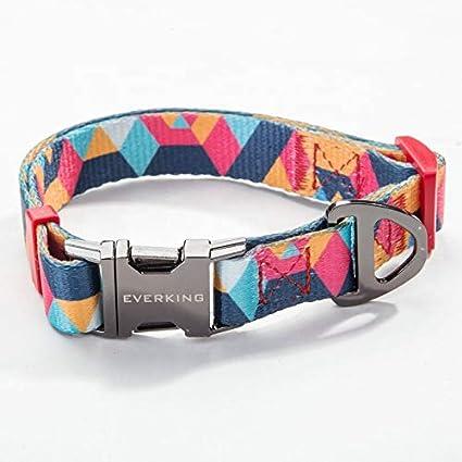 Collar para perro Everking, ajustable, moderno, multicolor, para perros grandes, medianos y pequeños, transpirable Collares, correas y accesorios de nailon para perros.