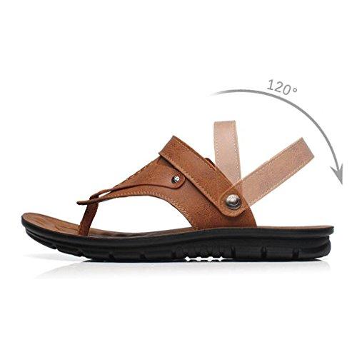 pelle 5 pelle clip casual estate CJC Nero vera scarpe suola UK7 scarpe in Colore dimensioni morbida in 8 Giallo traspirante toe EU41 Sandali qR0tq