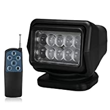 LED Rotating Remote Control Search Light 50W 12-24V 360º Cree Working Light Emergency Lighting Construction Lighting for Boat Offroad Car SUV Camping Home Security Farm Field Protection Garden Etc (Black)1Set