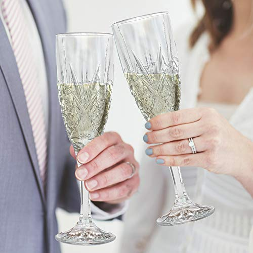 Le'raze Crystal Champagne Toasting Flutes, Elegant Champagne Glasses with Diamond Patterned Design Ideal for Wedding, Party Essentials, Wine Gifts - Set of 4 Stemmed Glass Flutes