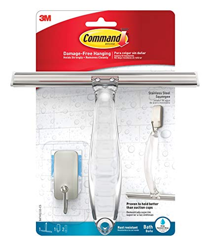 Command 076308728564 Shower, Satin Nickel, 1-Squeegee, 1-Hook, 1 Small Water-Resistant Strip (BATH32-SS-ES) ()