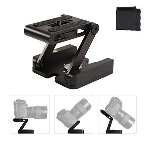 Z Flex Tilt Tripod Head Aluminum Alloy Folding Z Tilt Head Quick Release Plate Stand Holder for DSLR Compatible Slide Rail Camera Camcorder Tripod with Spirit Level for Canon Nikon Sony Pentax