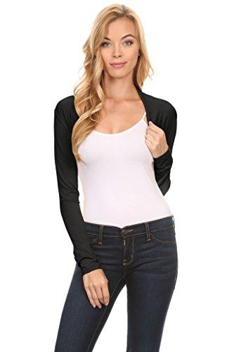 Simlu Black Bolero Regular and Plus Size Black Shrug Sweater, Black Cropped Jacket USA,Black,Large