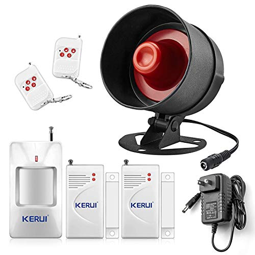 - KERUI Home Security System Indoor Outdoor Weather-Proof Siren Window Door Sensors Motion Sensor Alarm with Remote Control more DIY, Wireless Home Hotel Garage Shop Burglar Door Alarm System