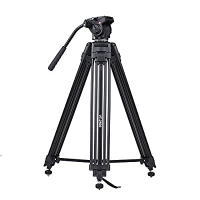 Image of Andoer 152cm/5ft Camera Camcorder Tripod with 360° Fluid Damping Head/Stable Middle Support/Nail Foot Mg-Al Alloy Max. Load 8kg/18Lbs with Carry Bag for Canon Nikon Sony DSLR ILDC