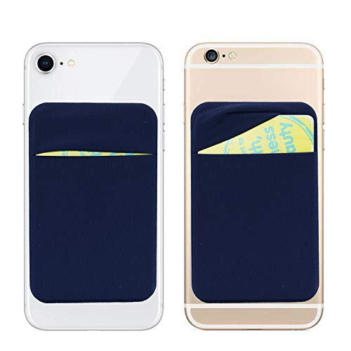 - 3M Adhesive Purse,6 Cards Secure Holder Pocket Wallet Stick on Phone/Tablets-Cards Sleeve Pouch fits iPhone XS Max/XR/6S/7/8 Plus,Galaxy S8/Note 9/J7/J3,Honor V10/Mate 9 Pro/LG G5 (Navy Blue)
