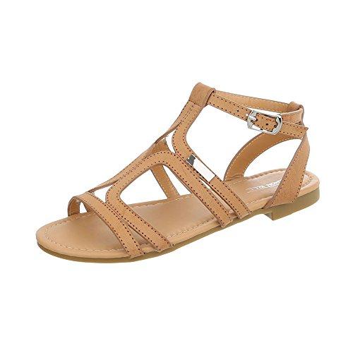Ital-Design Zapatos Para Mujer Sandalias de Vestir Tacón Ancho Sandalias de Dedo bronzage