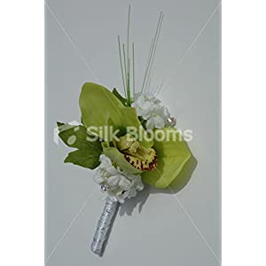 Gorgeous Apple Green Orchid Wedding Buttonhole with Snowball 19