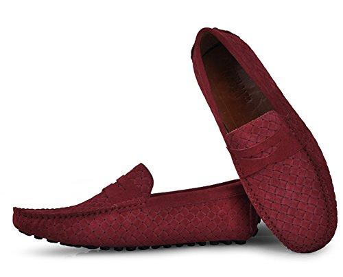 Santimon - Mens Casual Komfort Äkta Nubuckläder Kör Utomhus Låga Båt Skor Moccasin Loafers Röd