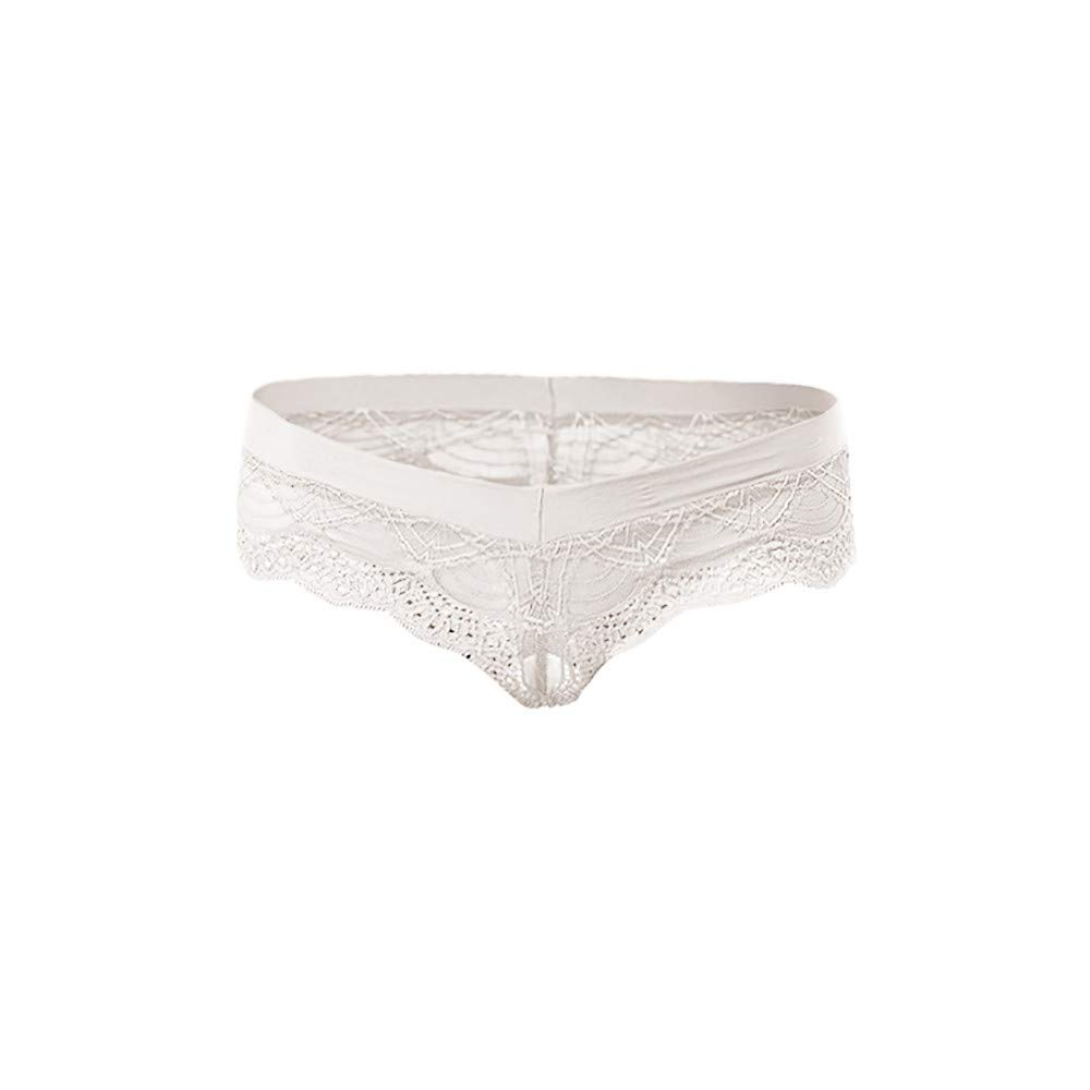 BOLUOYI Crotchless Lingerie for Women Sexy Transparent Hollow Breathable Underpants T-String Thongs White L