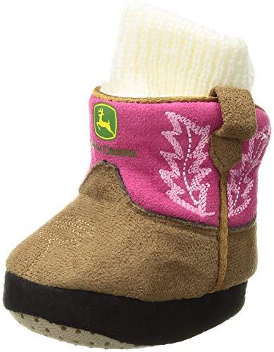 John Deere Baby Girls Slippers, pink, 6-12M