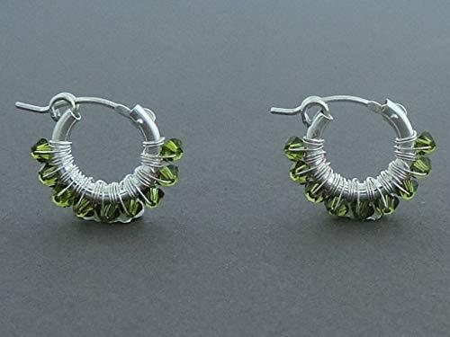 (Sterling silver small hoop earrings Swarovski Khaki wire wrapped)