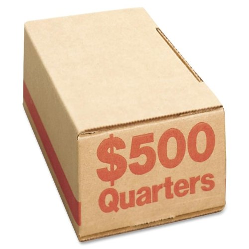 Wholesale CASE of 5 - PM Company SecurIT Coin Boxes-Coin Box, Quarters, 500, 50/CT, Orange
