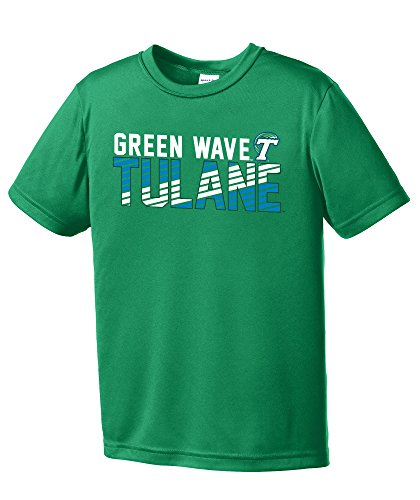 Image One NCAA Tulane Green Wave Youth Boys Diagonal Short sleeve Polyester Competitor T-Shirt, Youth (Tulane Green Wave Shirt)