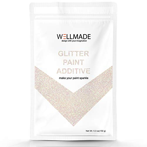 - Glitter Paint Additive for Paint-Wall Interior/Exterior, Ceiling, Wood, Metal, Varnish, Dead Flat, DIY Art and Craft 150g/5.3oz + 1PC Free Buffing PAD (Mother of Peal)