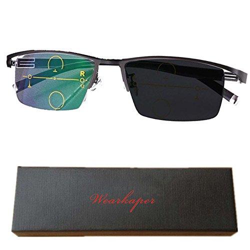 WEARKAPER Transition Photochromic Progressive Multi Focus Reading Glasses (1.50X, Black)