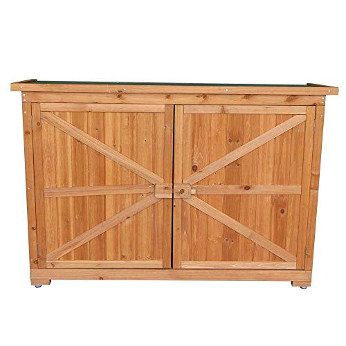 Cypress Shop Outdoor Garden Shed Wooden Storage Locker Yard Backyard Patio Tools Organizer Cabinet Racks Shelves with Double Doors Double Locks Easy Store Latch Locking Handle Home Furniture