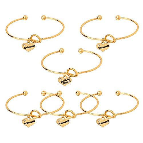 Crisky Gold Bangle for Bridesmaid Gift, Bridal Party Gift Tie the Knot Bracelet, Bridesmaid Proposal Bangle, Bridal Shower Party Proposal, (5 bridesmiad 1 MOH) 6 Pcs Gold -