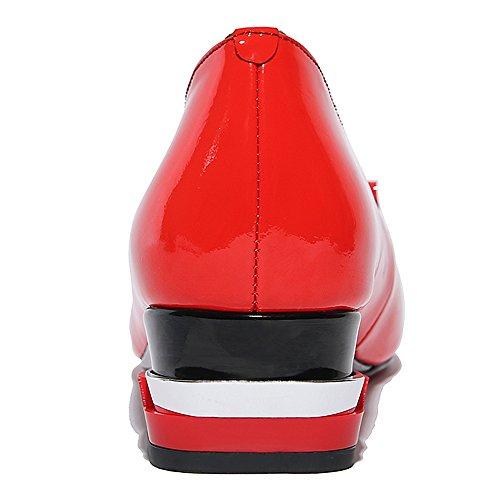 Nine Seven Cuero Moda Puntera Cuadrada Zapatos de Tacón Bajo de Vestir para Mujer Rojo