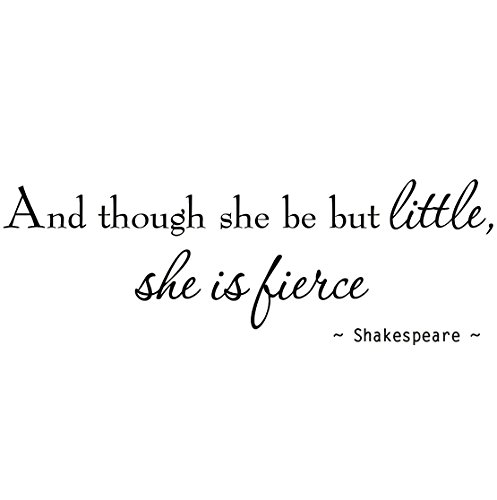 VWAQ And Though She Be But Little She is Fierce Nursery Wall Decals Room Decor Shakespeare