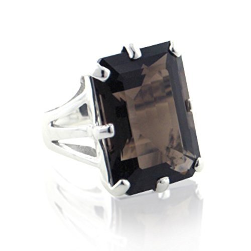 [Huge Emerald-Cut Genuine Smoky Quartz and Sterling Silver Vintage Style Ring Size 6(Sizes 6,7,8,9)] (Emerald Cut Smoky Quartz Ring)