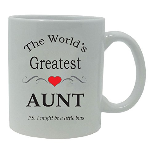 (CustomGiftsNow The World's Greatest Aunt 11-Ounce Ceramic Coffee Mug, White)