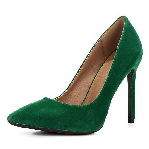 fereshte Women's Classic Pointy-Toe Dress Pumps Sexy Slip-on Stiletto High Heels Velvet Green EU43 ()