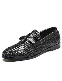 Alaec Hombres Caballeros niños Armadura Resbalón en Tassle Zapatos de Barco de Cuero Verano Casual Oficina Mocasines de Trabajo Vintage Zapatos de conducción