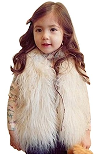 MisShow Little Girl's Gilet Outwear Vest Faux Fur Wool Waistcoat Jacket Coat ()