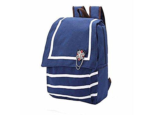 White Striped British Large Backpacks British Flag London Backpack School Travel Bag Rucksack (Deep Blue) ()