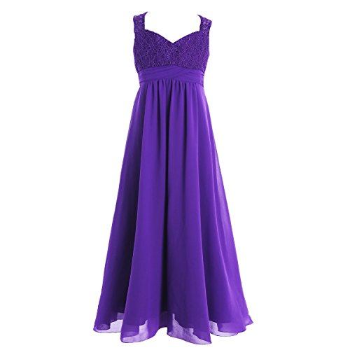 Designs Satin Flower Girl Dress - iEFiEL Big Girls Elegance Wedding Flower Girl Lace Chiffon Prom Dress Long Evening Gown Purple 10