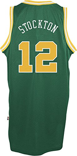 Utah Jazz #12 John Stockton NBA Soul Swingman Jersey, Green, Size: X-Large