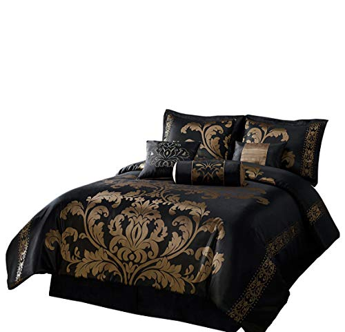 (Chezmoi Collection 7-Piece Jacquard Floral Comforter Set/Bed-in-a-Bag Set, King, Black Gold )
