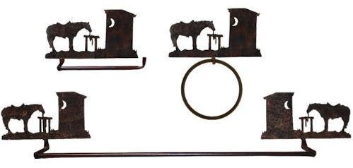 Outhouse and Horse 3 pc towel bar/toilet paper holder/ an...