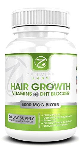 Волосы Витамины роста с 5000mcg биотина и DHT Blocker - 27 Мощные Волосы Оживление Состав - 60 вегетарианское-Friendly таблетки, которые стимулировать рост волос и блеск для мужчин и женщин - Упакованные необходимыми витаминами и антиоксидантами, что поте