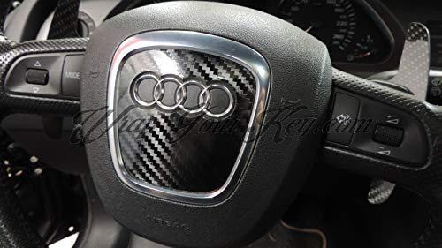 Rs A8 Lucido Fibra di Carbonio Nero Airbag Volante Telo Copertura Skin Adesiva Copertura per Audi A1 Q2 Q5 A4 Tt Q7 A2 A7 Q3 A6 A5 S-LINE Quattro A3